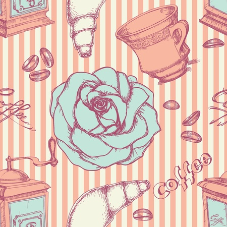 grinder: Retro coffee seamless pattern