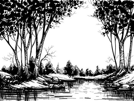foret de bouleaux: Lac de la for�t de bouleaux
