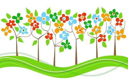 Spring trees line
