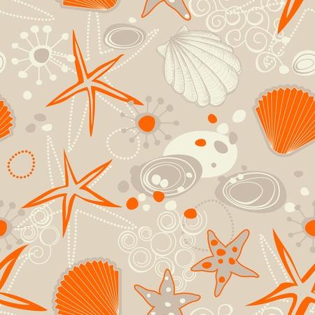 sea star: Beach seamless pattern