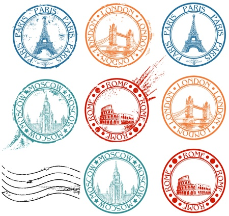 postage stamp: City stamps collection with symbols: Paris (Eiffel Tower), London (London Bridge), Rome (Colosseum), Moscow (Lomonosov University)