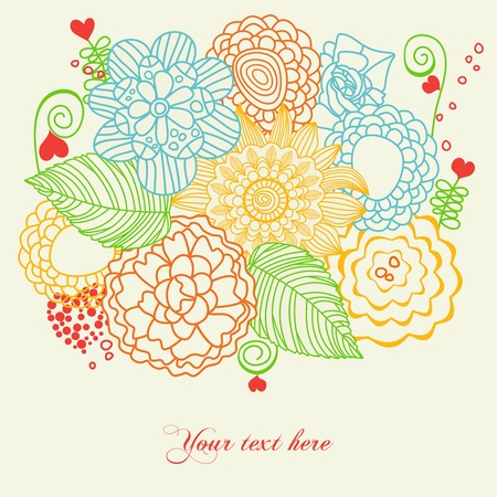 Flowers and hearts love card  Stock Vector - 9261948