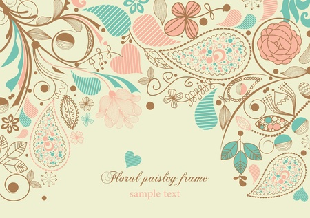 Floral paisley frame Stock Vector - 9261870