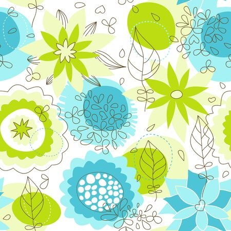 Whimsical floral seamless pattern  Stock Vector - 9261946