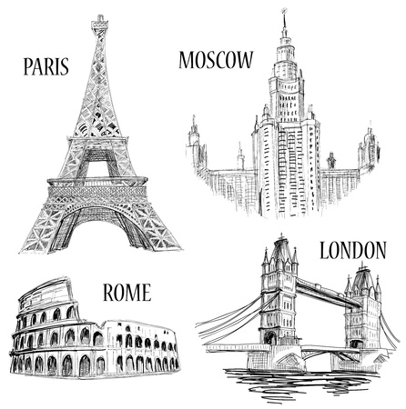 European cities symbols sketch: Paris (Eiffel Tower), London (London Bridge), Rome (Colosseum), Moscow (Lomonosov University)  Vector
