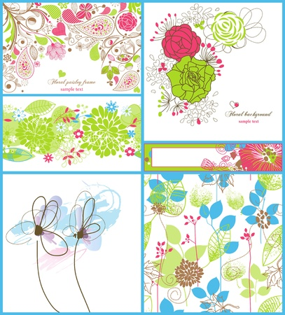 A collection of floral backgrounds: frames, seamless patterns and greeting cards  Vector