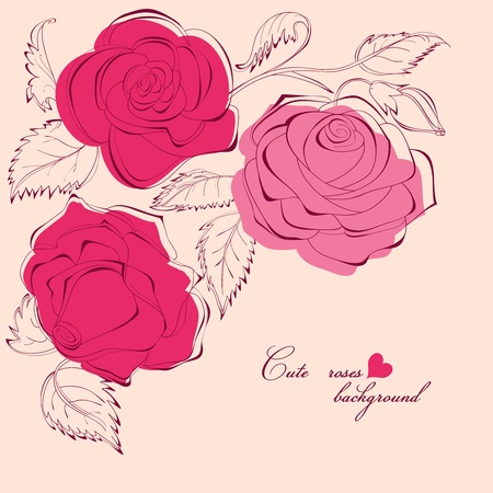 Cute roses background Stock Vector - 9320455