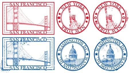 passeport: Timbres de c�l�bres villes USA avec symboles : New York (Statue de la libert�), San Francisco (Golden Gate), Washington D.C. (Capitole des �tats-Unis)
