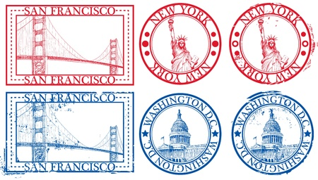 passport stamp: USA famous cities stamps with symbols: New York (Statue of Liberty), San Francisco (Golden Gate), Washington D.C. (United States Capitol)