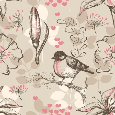 Época romántica patrón transparente con aves y lirios