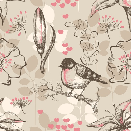 Vintage romantic seamless pattern with bird and lilies  Vector