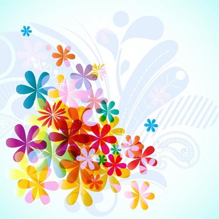 flower border: Bright floral spring background