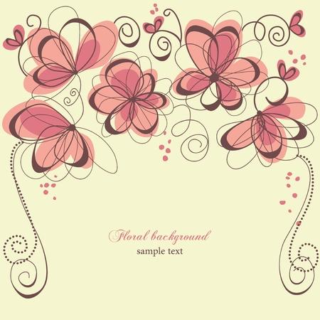 Romantic invitation floral panel  Vector