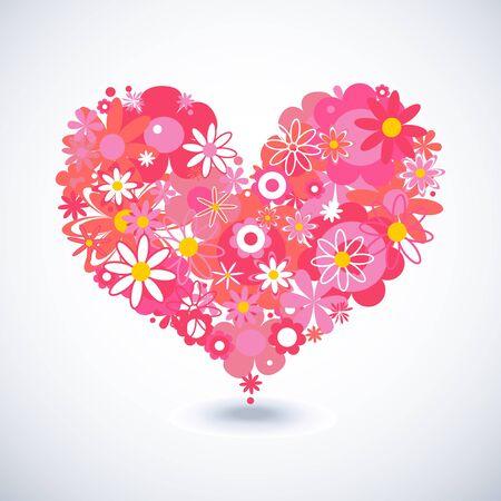 sentimientos y emociones: Hermoso coraz�n floral Vectores