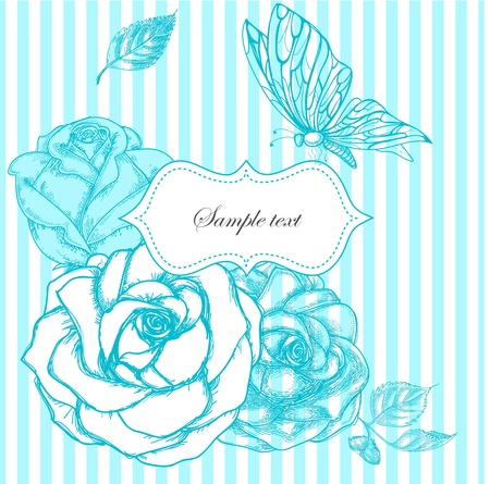 flores vintage: Roses and butterfly frame