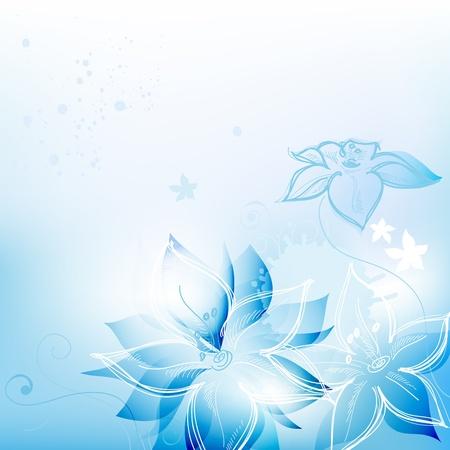 blue swirl: Blue floral background