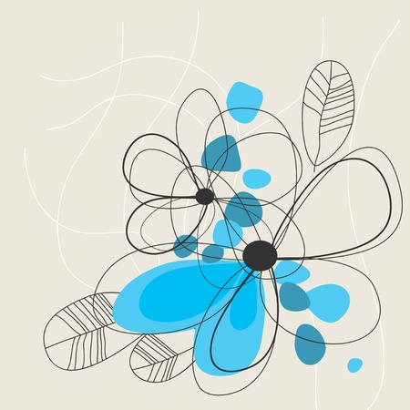 delicate: Cute blue floral background