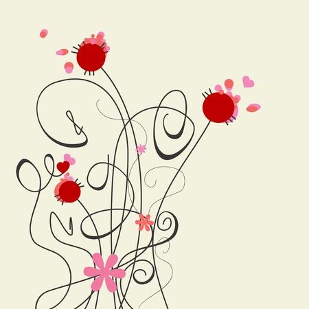 Cute graceful flowers  Vector