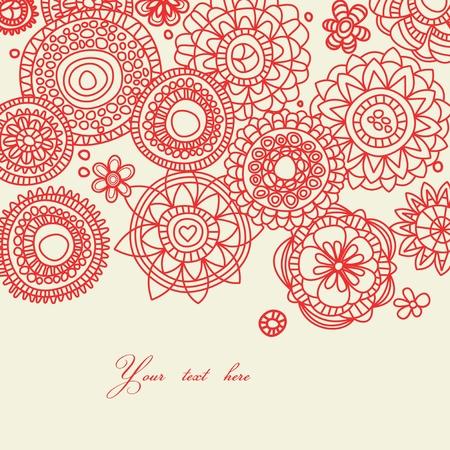 Fondo floral folk decorativo  Ilustración de vector