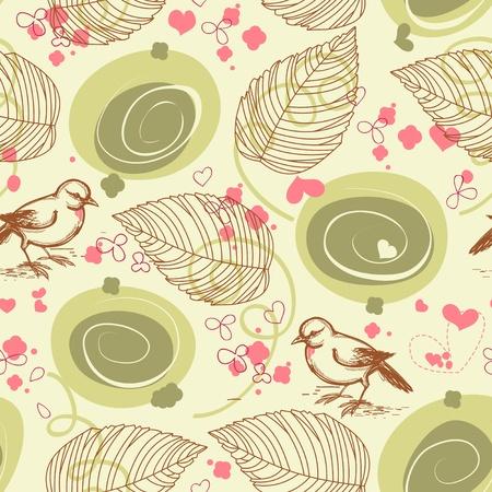 Cute bird floral seamless pattern  Stock Vector - 9448771
