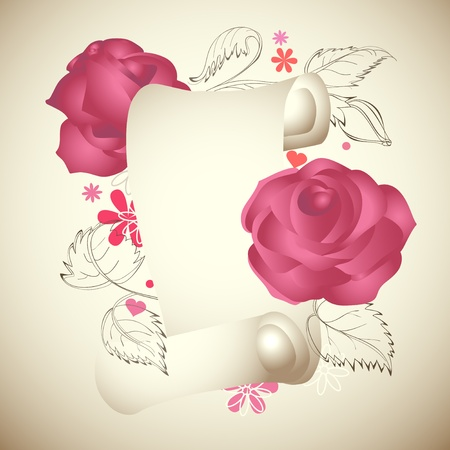 Romantic vintage roses and torn paper banner  Stock Vector - 9448762