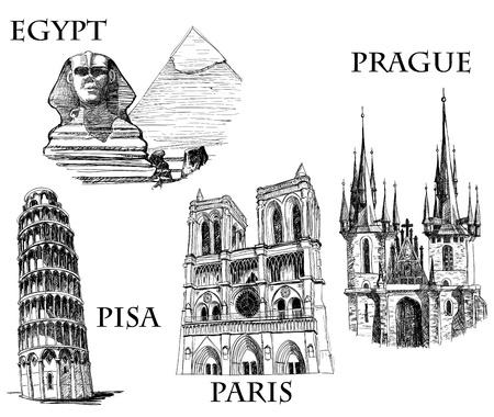sketched icons: Esbozo de ciudades famosas de edificios famosos, Vectores