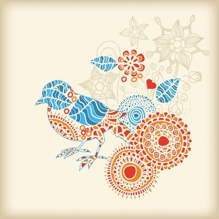 folk art: Decorative bird floral background