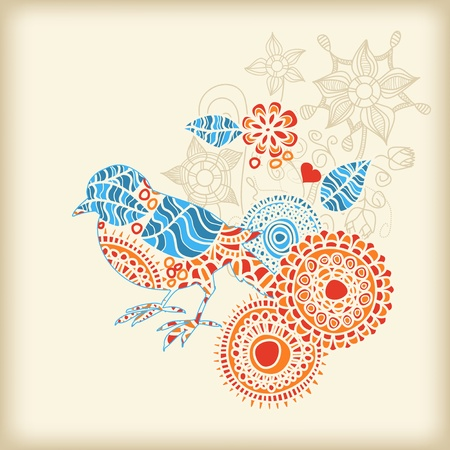 v�gelchen: Dekorative Vogel floral background  Illustration