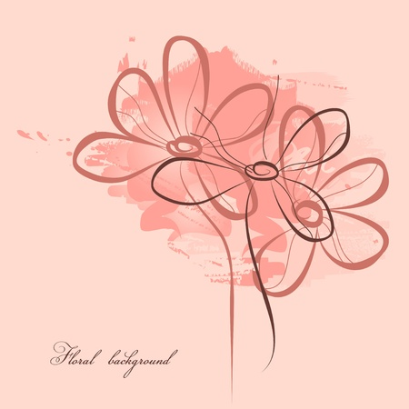 daisy pink: Pink floral painting  Illustration