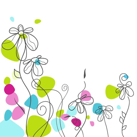 camomiles: Floral greeting card  Illustration