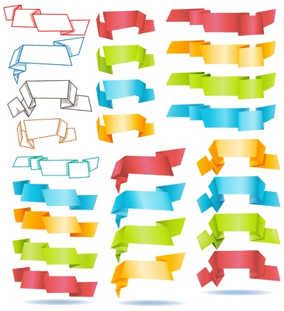 Large collection of origami paper banners  Vector