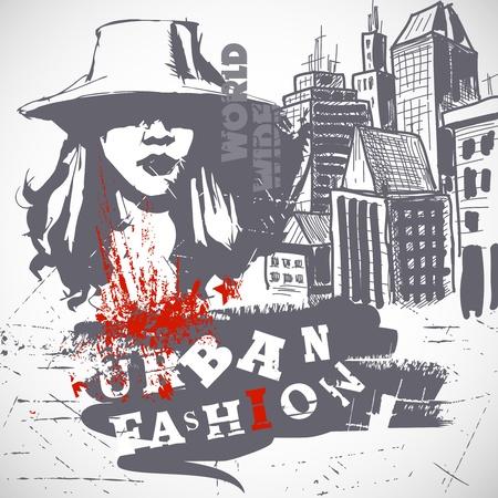 urban fashion: Urban fashion grunge background  Illustration