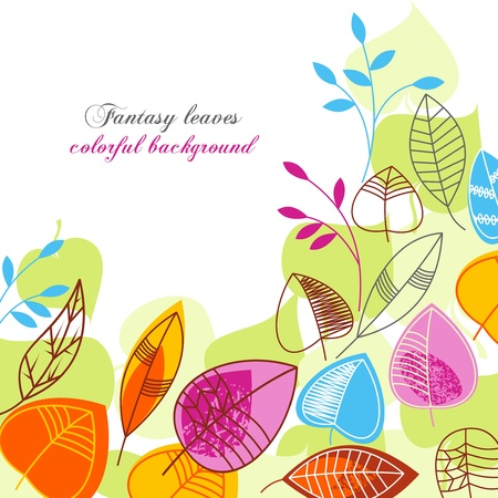 Fantasy leaves colorful background  Stock Vector - 9491931