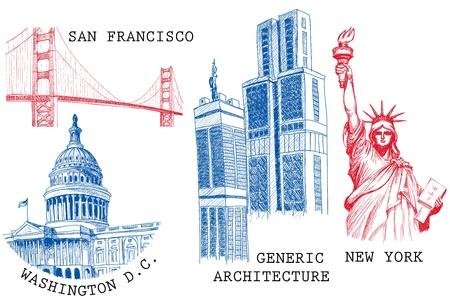 sketched icons: Bocetos de arquitectura y monumentos de famosas ciudades de Estados Unidos: Nueva York (estatua de la libertad), San Francisco (Golden Gate), Washington D.C. (Estados Unidos de Capitol)
