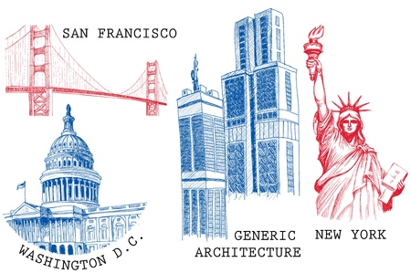 capital building: USA famous cities architecture and landmarks sketches: New York (Statue of Liberty), San Francisco (Golden Gate), Washington D.C. (United States Capitol)  Illustration
