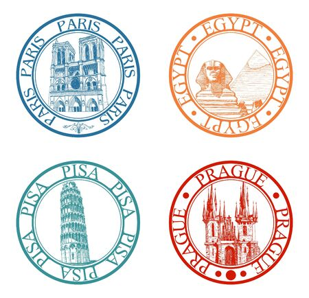 Detailed travel stamps collection: Pisa, Paris, Prague, Egypt  Vector