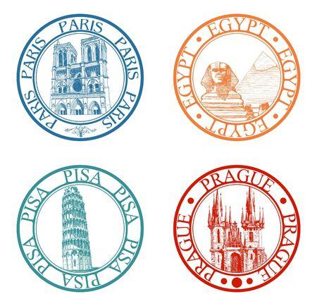 esfinge: Viajes detallada sellos de colecci�n: Pisa, Par�s, Praga, Egipto  Vectores
