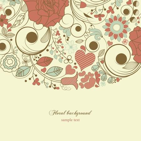 Marco floral retro  Ilustración de vector