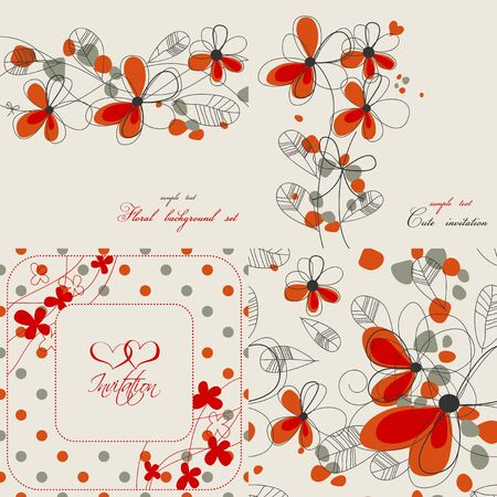 Set of cute floral backgrounds  Vector
