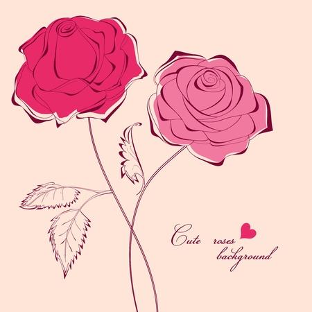 caligraphic: Beautiful romantic roses