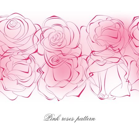 Delicate pink roses pattern  Vector