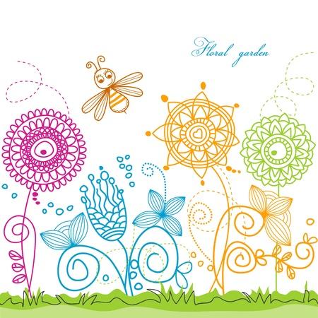 summer scene: bee visiting flowers  Stock Vector - 9533773