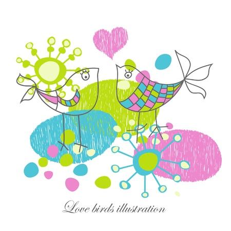 two birds: Love birds illustration  Illustration