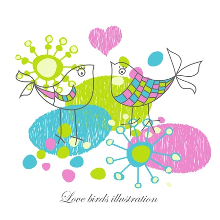 childlike: Love birds illustration  Illustration