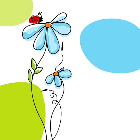 Cute nature scene: ladybug climbing on a flower Illustration
