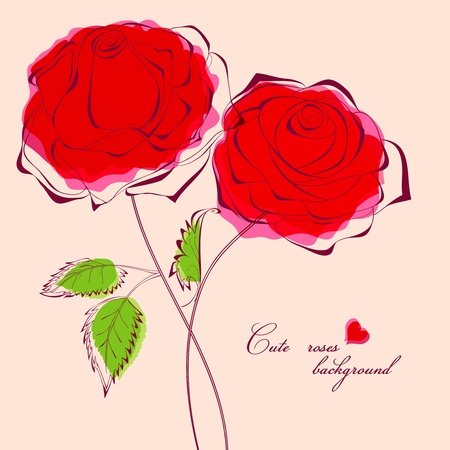 Red roses card Stock Vector - 9533724