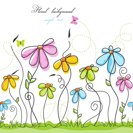Colorful summer floral background  Vector