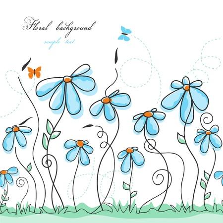 flower drawings: Blue floral garden  Illustration