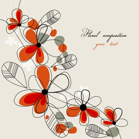Cute red flowers background Vector