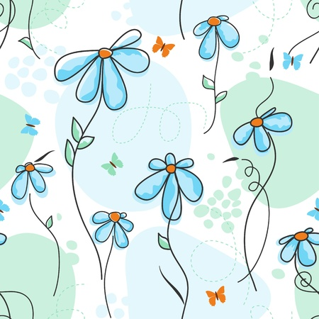 garden design: Cute nature seamless pattern  Illustration